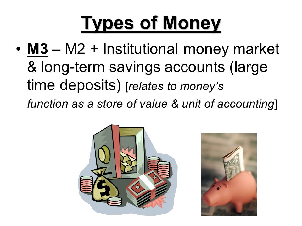Types of Money M3 – M2 + Institutional money market & long-term savings accounts (large time deposits) [relates to money's.